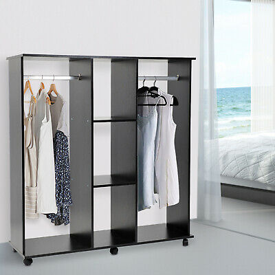 Double Mobile Open Wardrobe Bedroom Storage Shelves W Clothes