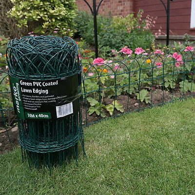 Garden Border Fence Green PVC Coated Lawn Edging Wire Mesh Edge Fencing 2 Sizes