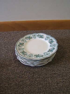 "W H Grindley England Brussels Green/Blue w/ gold 10 Salad Plates 8"" VGC"
