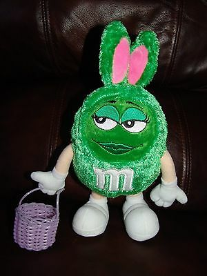 Green Girl M&M Easter Bunny w/ Basket Plush Doll 10""