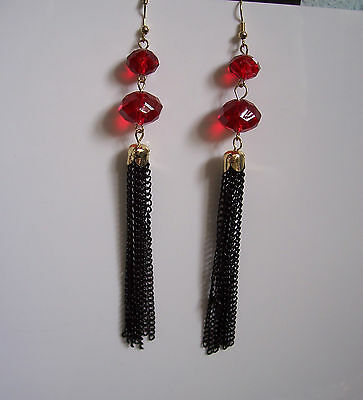 XXL Red Faceted Bead/Black Chain Dangly Earrings