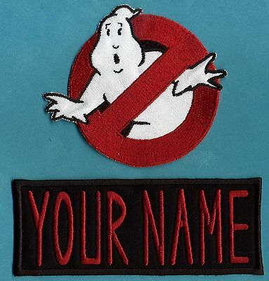 CHILD size Ghostbusters No Ghost 1  & Custom Name Tag Patch Set [male/HOOK back]