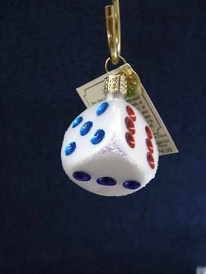 Old World Christmas OWC - DICE Glass Ornament, NEW with Tags (o527)