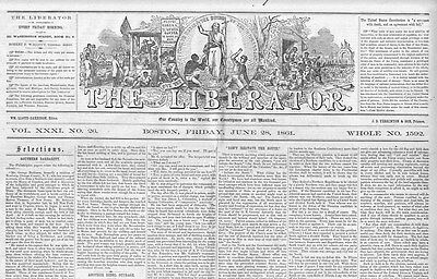 WILLIAM LLOYD GARRISON RARE ANTI-SLAVERY NEWSPAPER CONTRABAND NEGROES ABOLITION