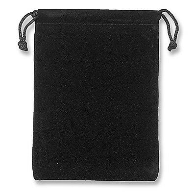 "5 Pack Large Velvet Pouch Bag with Drawstring Black 4"" x 5"""