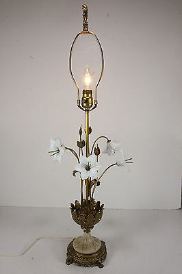 Antique French Electric Table Lamp Gilt Brass Milk Glass Flowers Lilies