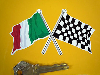 Crossed ITALIAN & Chequered Flag Bike STICKER 100mm Italy Italia Race Car Racing