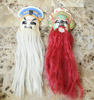 "Set 2 Vintage Asian mask 4"" Pottery Masks Oriental Bearded Hair Wall hangings"