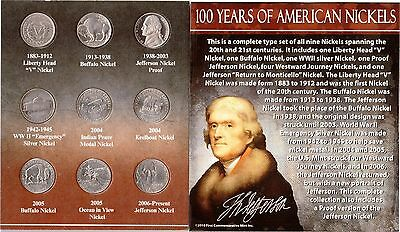 100 Years of American Nickels - 1883 - 2006 A.D. with Silver and a Proof Nickel