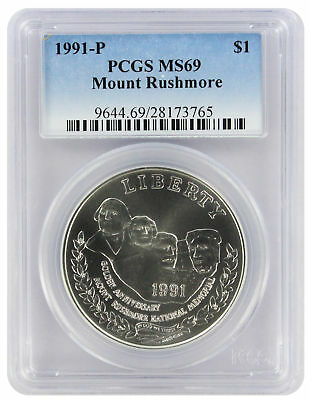 1991-P MT Mount Rushmore Silver Commemorative Dollar MS69 PCGS Mint State 69