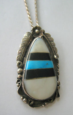 BOLD ESTATE STERLING SILVER CHAIN PENDANT TURQUOISE ABALONE ONYX ARTISAN 27 GR