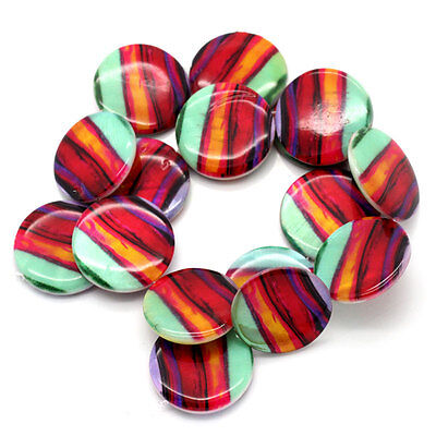8 Shell Flat Round Disc Beads Multi Coloured 25mm Jewellery Making Crafts J24681