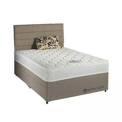 New - Rapyal Sleep Malta Sprung Tufted Memory Divan Bed - End Slider Included