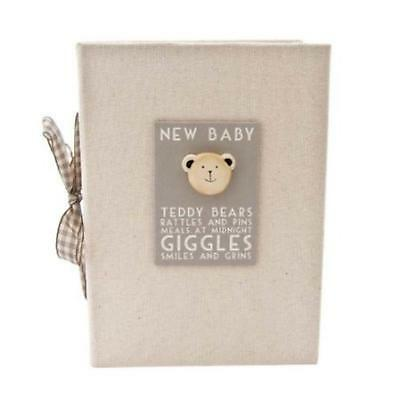 East of India Linen New Baby Photo Album Boxed Shabby Chic Wood Teddy