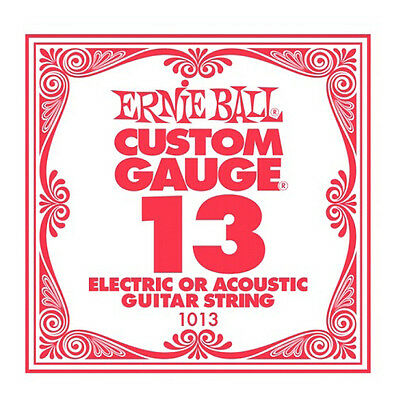 Ernie Ball .013 Custom Gauge Guitar Single Strings Electric or Acoustic Pack 6