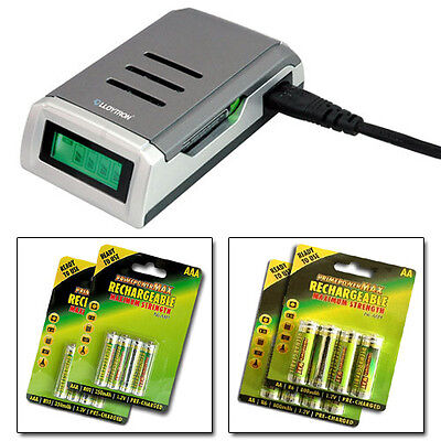 Ultra Fast  Intelligent Lcd Battery Charger + 16 Aa Aaa Rechargeable Batteries