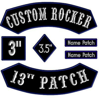 """6 Piece Custom Embroidered Rocker Set Name Patches Diamond Square Biker Tags 13"""""""