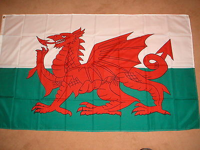 Wales Welsh Red Dragon Flag 5' X 3' Bramd New Polyester