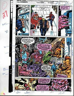 Original 1991 Avengers 330 page 27 Marvel color guide art pg: Spider-man/Falcon