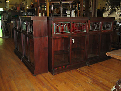 4 Antique Mahogany Leaded Glass Danner Sliding Door Bookcase Stacking Sectional