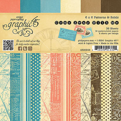 Graphic45 COME AWAY WITH ME 6x6 PAPER PAD scrapbooking Patterns & Solids