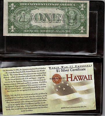 """WWII Emergency Silver Certificate Bank Note - """"Hawaii"""" Overstamp with Brown Seal"""