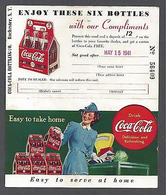 COCA-COLA ADV DOUBLE POSTCARD, TEAR OFF COUPON FOR FREE COKE, NY ~ used 1941