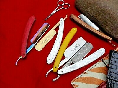 6 x Quality Hairdressing Barber Cut Throat Razor including Damascus,Gold Plated