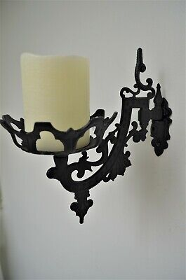 Black Metal Cast Iron Wall Sconce/ Vintage Victorian Style/ Wall Candle Holder
