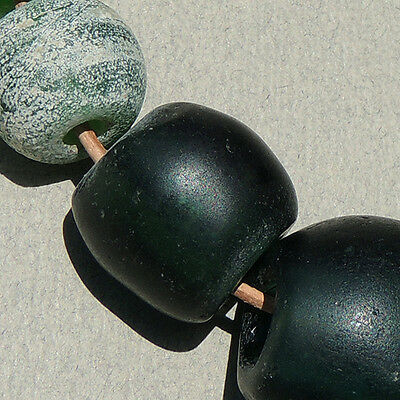 14 old antique green dutch glass beads senegal and mali 1700s
