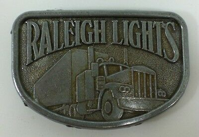 1980's Collectible Pewter Raleigh Lights Cigarettes Belt Buckle Semi Truck Truck