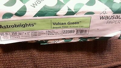 "Wausau Paper Astrobrights  250 Sheets of 8.5""×11"" of 65 lb Vulcan Green Paper"