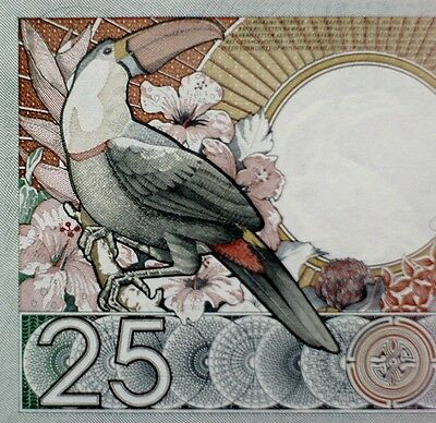 TOUCAN Banknote 1988 SURINAME 25 Gulden South American Paper Money Real