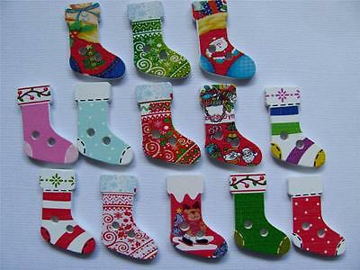 BB BUTTONS CHRISTMAS STOCKINGS WOOD mixed pk of 15 BULK sewing craft xmas