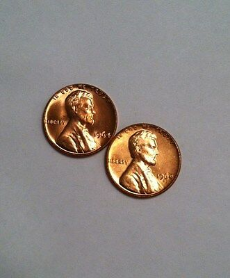 1964 and 1964-D Uncirculated Lincoln Cents BOTH COINS -- FREE ship