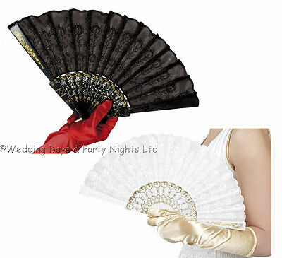 Black / White Lace Fan Spanish Mexican Geisha Girl Victorian Ladies Fancy Dress