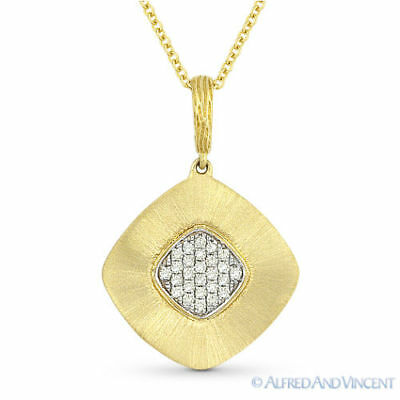 0.13 ct Round Cut Diamond Pave Pendant & Cable Chain Necklace in 14k Yellow Gold