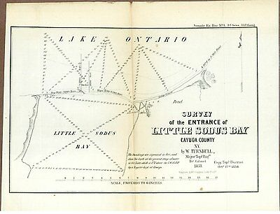 """Map of the Entrance to little Sodus Bay, Cayuga Co. NY, 1854, 10 3/4"""" x 8 1/2"""""""