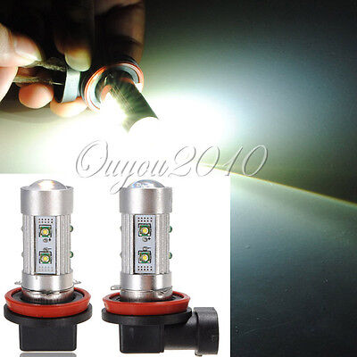 2x Car H11 50W 10 CREE LED SMD High Power Pure White Fog Driving Head Light Bulb