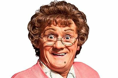 Mrs. Brown TV Character Curly Novelty Fancy Dress Wig & Glasses