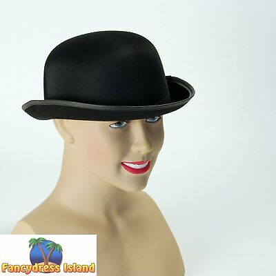 49053261f08 OLD ENGLAND SATIN FINISH BLACK BOWLER HAT - mens fancy dress costume  accessory