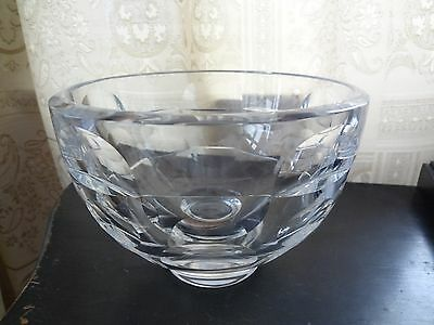 Orrefors Simon Gate Thousand Windows Sweden Crystal Glass Footed Bowl Signed