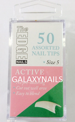 SIZE 5 - REFIL BOX OF 50 THE EDGE ACTIVE NATURAL HALF WELL NAIL TIPS acrylic gel