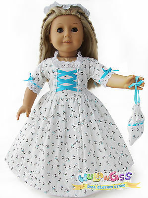 Doll Clothes fits 18'' American Girl Handmade Sky Blue Colonial Dress/Gown