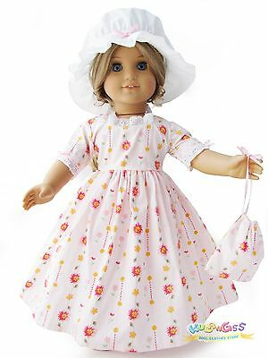 Doll Clothes fits 18'' American Girl Handmade Pink Colonial Dress/Gown
