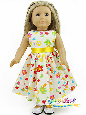 """Doll Clothes fits 18"""" American Girl Handmade Yellow Cherry Summer Dress"""