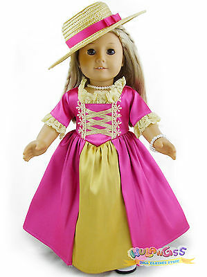 Doll Clothes for 18'' American Girl Handmade Hot Pink Colonial Dress/Gown set