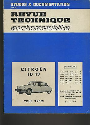 (13B)REVUE TECHNIQUE AUTOMOBILE CITROEN ID 19 Tous types