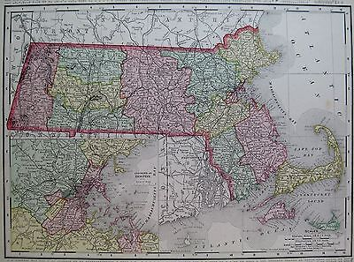 1901 Vintage MASSACHUSETTS Map 1900s Vintage Collectible Map of MASSACHUSETTS