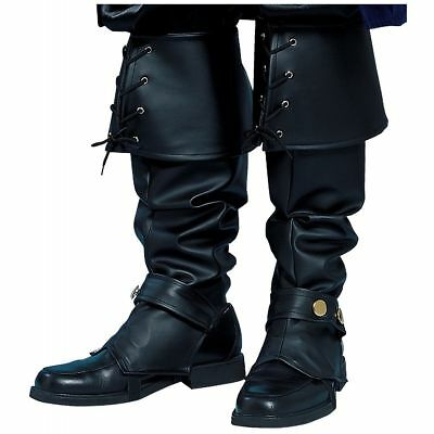 Men Boot Tops Covers Pirate Swashbuckler Colonial Renaissance Boots Spats Black